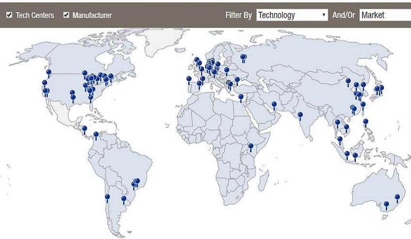 Interactive locations map for H.B. Fuller global locations.