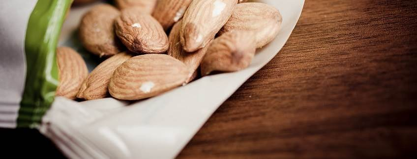Package of almonds manufactured with flexible packaging adhesives from H.B. Fuller.