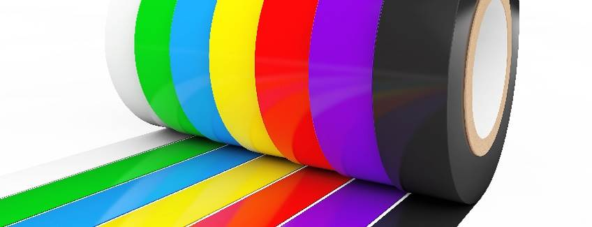 Rolls of colorful tape.